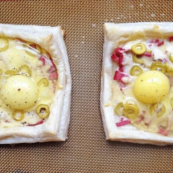 Рецепт слоеное тесто с ветчиной и сыром
